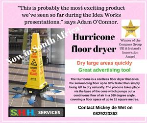 Hurricone floor dryer now is SA! Cordless, for quick drying floors.