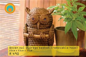 Woven owl storage basket for sale