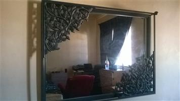 Glass mirror wrought iron