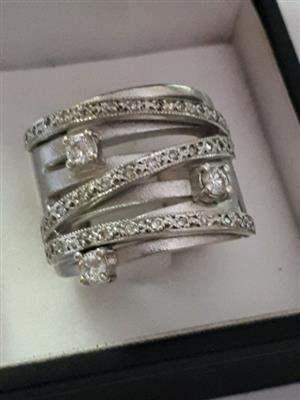 Female white gold custom made ring