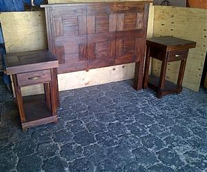 Headboard Farmhouse Block series Double bed set Stained
