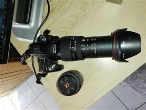 Sony a33 SLT with Sigma 28-300mm f3.5-6.3 (42-450mm equivalent) and kit lens.