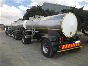 Used 2010 Stainless Steel Semi and Pup Milk Tanker for sale