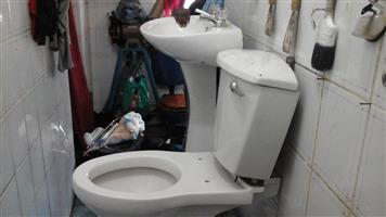 TOILET SEAT, FLUSHING SYSTEM, TOILET BASIN WITH PEDESTAL FOR SALE IN KEMPTON PARK. ITEMS IN PRETTY GOOD CONDITION.