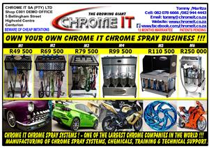 CHROME IT CHROME SPRAY SYSTEMS FOR SALE INCLUDING CHEMICALS & TRAINING