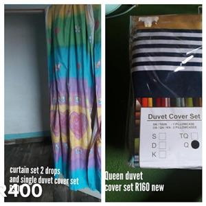 Multi colored curtain set and duvet cover set