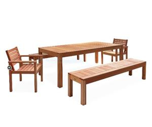 PATIO SET. PATIO WAREHOUSE FECHTERS 8 x SEATER ALL-SEASON PATIO DINING SET. SOLID EUCALYPTUS WOOD