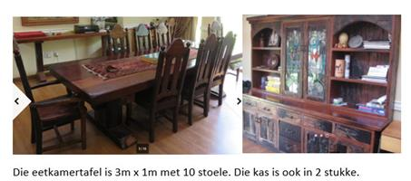 Solid sleeper wood 3m long diningroom table with 10 chairs and buffet for R15,000