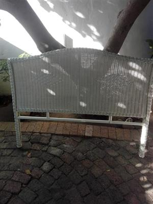 White rottang dbl bed headboard