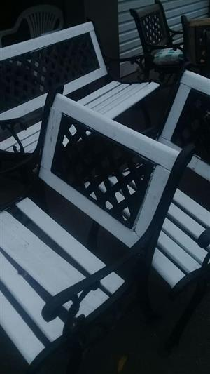 3 Piece black and white patio bench set