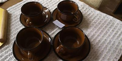 Brown cup and saucer set