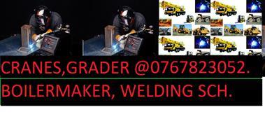 Boilermaker, Grader, dump trucks.  082-282-8981# welding training, plumbing, co2,argon trade test.