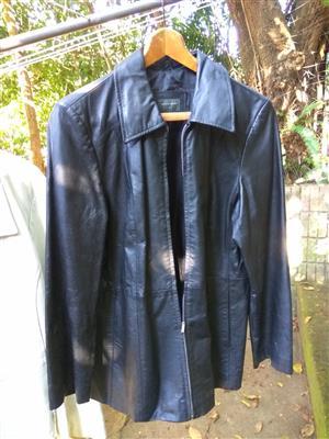 Stylish black ladies nappa leather jacket size 38 for sale