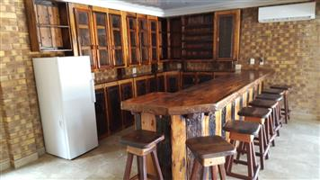 Complete bar, chairs, cupboards