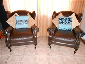 Full leather large wingback chairs