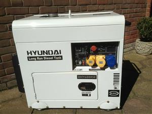 2014 model Hyundai Diesel Generator 6000SELR, Max Rating 6.6 KVA New