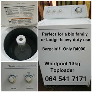 whirlpool  13 kg top loader
