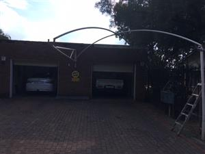 Double carport frame for shade net