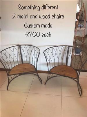 2 Custom made wooden and metal chairs