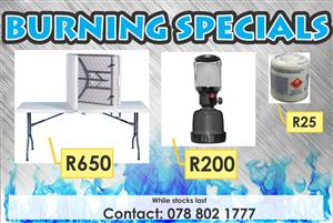 Plastic foldable table and gas lamps for sale