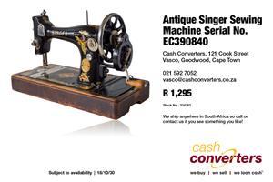 Antique Singer Sewing Machine Serial No. EC390840