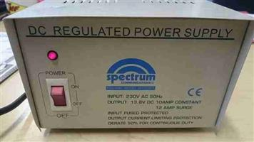 12 Volt dc regulated power supply 10amp/12 amp surge with battery back