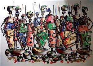 Beautiful African paintings by Bikis and Alda for Sale or Commissioned