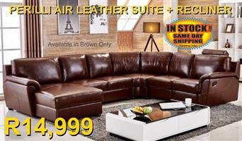 PERILLI Air Leather Lounge Suite + Recliner