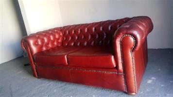 Genuine leather Chesterfield couch for sale