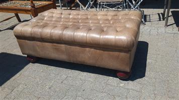 Large beige leather ottoman for sale