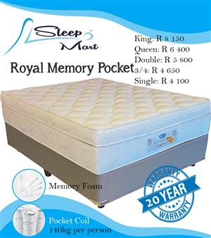 Royal Memory Pocket Bed and Base Queen
