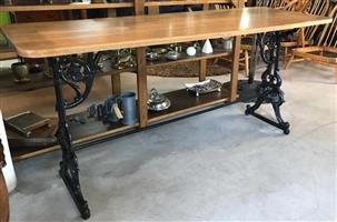 FRENCH OAK AND CAST-IRON REFECTORY TABLE