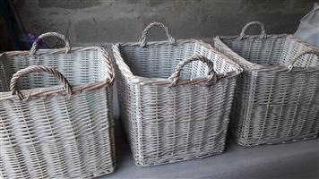 3 x Beautiful Large Wicker Basket With Handles with a Magazine Basket