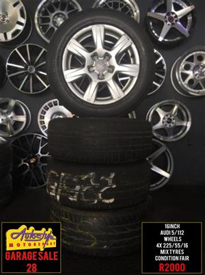 Garage Sale 28 rims tyres alloy mags wheels R2000 16 inch Audi Wheels 5-112pcd  4 x 225-55-16 inch Mix Brand Tyres 20 percent Thread  Condition Fair  Suitable for VW Golf 5-6-7 and Most Audi s  wide range brand new mags and tyres available.