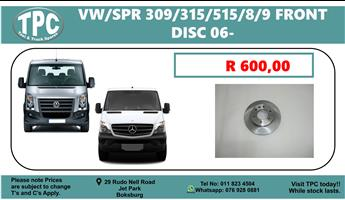 VW Crafter & Mercedes Benz Sprinter 309/315/515/8/9 Front Disc For Sale @ TPC