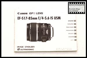 User Manual - Canon EF-S 17-85mm f/4-5.6 IS USM