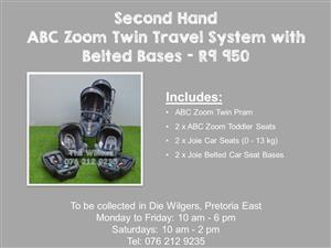 Second Hand ABC Zoom Twin Travel System with Belted Bases