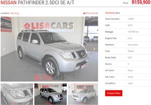 2015 Nissan Pathfinder 2.5dCi SE auto