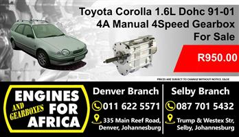 Used Toyota Corolla 4A 1.6L Dohc 91-01 Manual 4Speed Gearbox For Sale