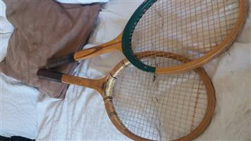 Two wooden tennis raquets