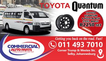 TOYOTA QUANTUM 6 HOLE  BLACK STEEL MAGS (SET) FOR SALE