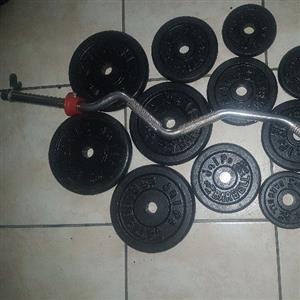 32kg Gym Weights+Ez Bar