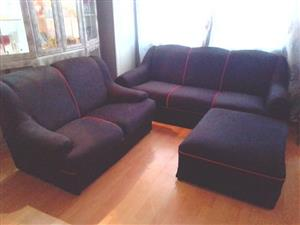 Black L shape and matching 2 seater couch
