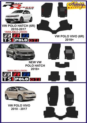 VW POLO VIVO, HATCH, GOLF GTI, R LINE, TSI etc Rubber mats, proper OEM fit. front and rear, also clip on types so no slipping, nonslip with assorted color trims and logos. also available for other popular cars and bakkies. From R450/set, front and rear. .