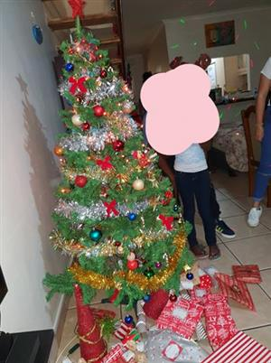 1.7m Christmas tree with decorations and lights