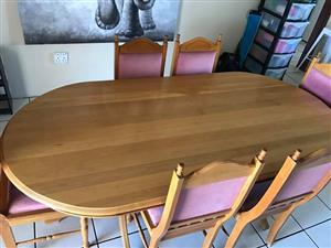 Solid oak wood dining room set with sideboard for sale