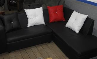 Black L-shape couch S036639B #Rosettenvillepawnshop