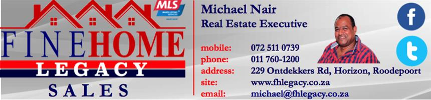 Property Executive with FINE HOME LEGACY.Part of MLS -We will assist in selling your property or locating a property for you within the shortest period.Exposure to 92 agencies and 459 agents.