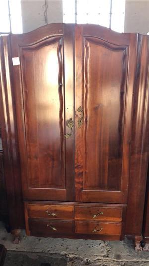Antique wooden 2 door closet with drawers