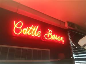 RED CATTLE BARON LIGHT SIGN